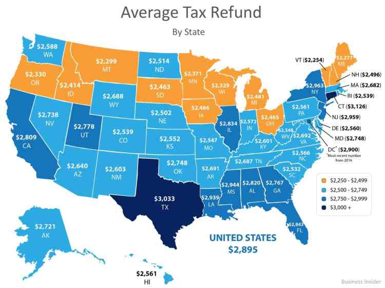 average tax refund by state map